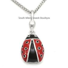 """Sterling Silver Ladybug Necklace 18"""" Red Enamel Cubic Zirconia USA Seller"""