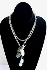 Fossil Brand Double Chain Bee, Wish, Rose Charm & Stones Turquoise Silver