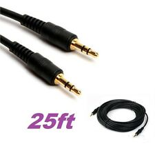 25ft Gold 3.5mm Male to Male M/M Jack Audio Stereo Aux Extension Cable PC MP3