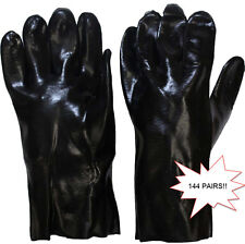 "Bulk Lot of 144 Pairs Men's PVC Coated Gauntlet Industrial Gloves 12"" - Black"