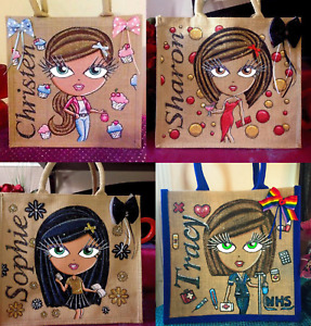 Glitterglamz Personalised Bag Jute Shopping Bags Custom Gift Hand Painted Nurse