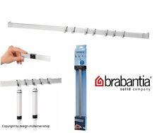 Brabantia Ayudantes de Cocina Riel Pared 60cm con 7 Gancho Mate Steel Extensible