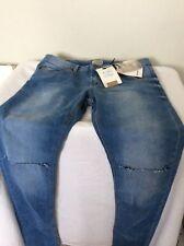 PULL&BEAR Men's Super Skinny Denim Jeans, Ripped Knees,Waist 32, 34Leg
