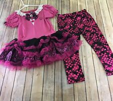 Monster High Mattel Halloween Child Costume Top Pants Pink Black Draculaura