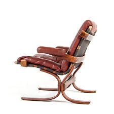 Rétro Vintage Danoise moderne en cuir & palissandre salon fauteuil Easy Chair 70 s