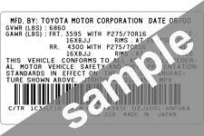 Lexus Sticker Pillar VIN Tag Dash ID Door Jamb Decal Certification Label Data