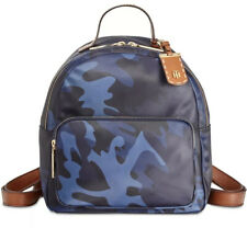 New TOMMY HILFIGER JULIA CAMO PRINT NYLON  SMALL DOME BACKPACK BAG NAVY GOLD