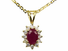 1.14ct Ruby & Diamond Necklace in 18K & 14K Yellow Gold