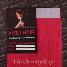 10pcs 22 inches Remy Seamless Tape Skin Weft 100% Human Long Hair Extension Pink