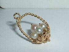 VINTAGE 14K YELLOW GOLD 3D BASKET PENDANT CHARM with pearls