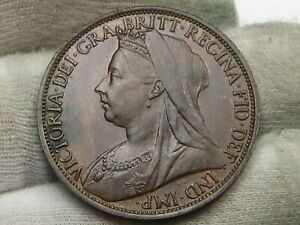 UNC Brown 1896 One Penny Great Britain.  #65