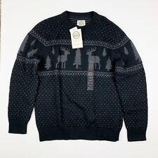 New Field & Stream Sweater Mens Size M Medium Wool Blend Moose Tree Pattern NWT