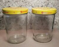 2 Vintage Sessions Peanut Butter Ball Mason Glass Jar w/ Screw Metal Lid