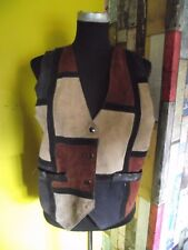 "Vintage Cowboy Rodeo Patchwork suede waistcoat 38"" chest"