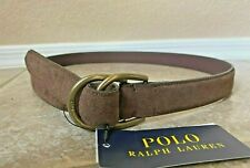 Polo Ralph Lauren Mens D Ring Belt Sz L Brown Suede Leather Logo Buckle NWT $95