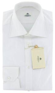 $450 Luigi Borrelli White Solid Cotton Shirt - Slim - (RJ)