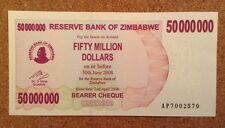 Zimbabwe Banknote. Fifty Million Dollars. Uncirculated