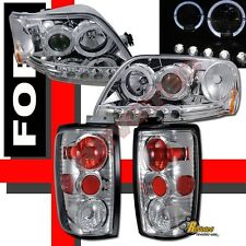 1997-2002 Ford Expedition Halo LED Projector Headlights + Tail Lights Set