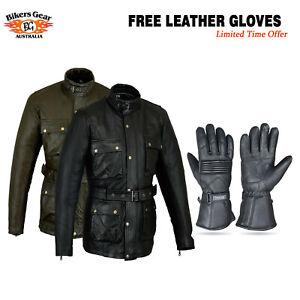 Australian Bikers Gear CE Motorcycle Motorbike Waxed Leather Jacket FREE GLOVES