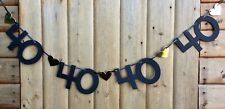 FEMALE 40TH BIRTHDAY BANNER PARTY BUNTING BLACK AND GOLD 4 NUMBER SETS