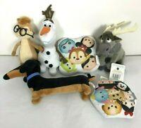 Disney TY plush Bundle sven Chipmunk Sausage Dog Tsum Tsum Cushions Olaf Sparkle