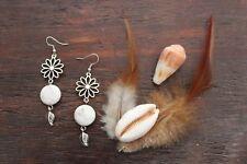 Lovely Handmade White Howlite Bead & Silver Tibetan Flower Leaf Dangle Earrings