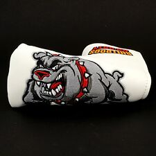 New 19th Hole Bulldog Golf Head cover Blade Putter, 3-layers Heavy Duty, White