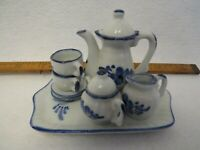 VTG miniature 10-pc coffee set/tray, blue floral design on white background