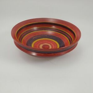 Turned Wood Bowl Signed Tom Foster Tri Color Stained & Striped 6 7/8 in. Dia.