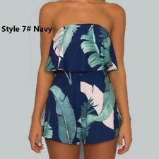 UK Womens Sexy Strapless Jumpsuit Mini Playsuit Ladies Tops Summer Beach Dresses