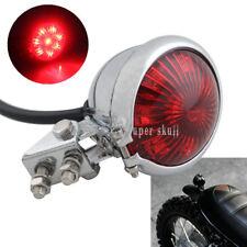 Chrome Red Lens Motorcycle Retro Bates Style LED Tail Brake Light ATV Dirt Bike