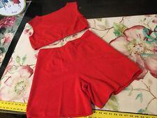 Vintage 2 Pc Red Plus Sz Crop & Top Shorts Set Sz 18 Disco Baby Retro Gym Wear