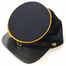 Civil War Forage Cavalry Leather Peak Bummer Kepi, Navy Blue with yellow piping