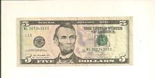 2013 $5  ML 3673 4333 C ... POKER NOTE ... 5-3's IN SERIAL NUMBER....FRN