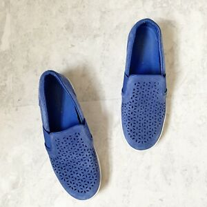 Vionic Sneakers Women's 6 Slip On Kani Blue Perforated Suede Comfort Shoes