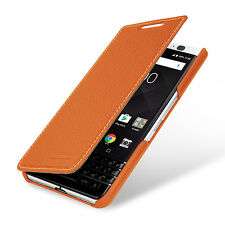 TETDED Premium Leather Book Case for BlackBerry KEYone Dijon II (LC: Orange)