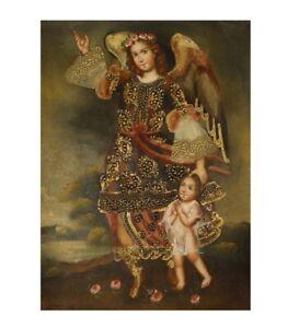 Guardian Angel Original Colonial Cuzco Peru Art Oil Painting On Canvas