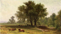 Art Oil painting Aaron Draper Shattuck - Landscape with Cows under the trees