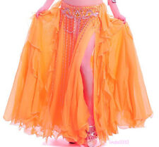 NEW Performance Belly Dance Costume 2 layers with slit Skirt Dress 11 colors