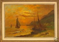 Boats at sunset by Swedish  artist F.Lindtberg