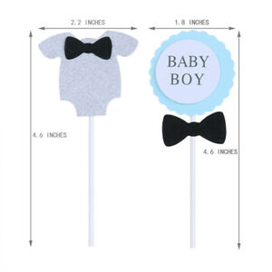 6Pcs Baby Girl Boy Shower Cupcake Toppers Set Birthday Party Favors Cake Decor