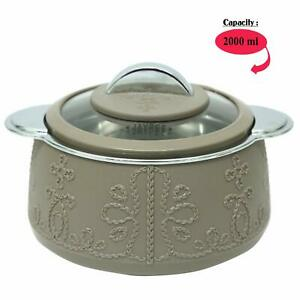 Insulated Casserole 2 Lt, Brown,Table Serving Dish With Glass Lid