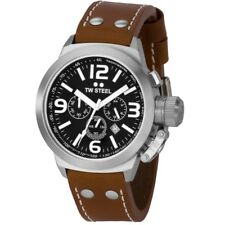 TW Steel TW6 Men's Canteen Chronograph 45mm Black Dial Leather Watch
