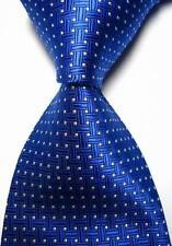 New Classic motifs bleu blanc Jacquard Tissé 100% Soie Hommes Cravate Cravate