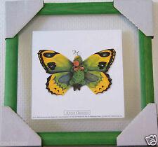 tableau cadre ANNE GEDDES photo bébé papillon vert 33cms vitre verre decoration