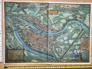 Old Antique Historic Map Lyon, France: 1572 Braun & Hogenberg REPRINT 1500's