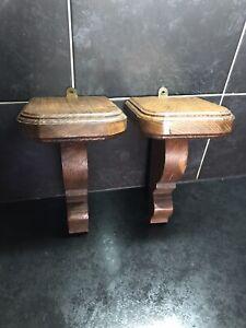 Pair vintage solid wood Wall Shelf Plinths
