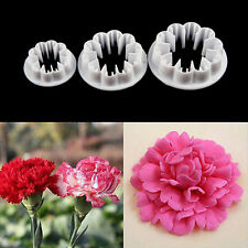 3pcs Carnation Flower Cake Fondant Sugarcraft Mold Cutter Gum Paste Decor Tool