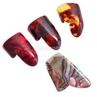 4Pcs Set Guitar Picks 3 Finger Picks + 1 Thumb Pick Plectrum Ring Plastic New AU