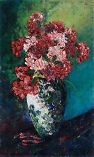 1920's FRENCH POST IMPRESSIONIST OIL PANEL - FLOWERS VASE - INDISTINCTLY SIGNED